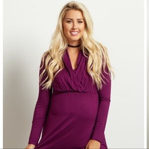 Pinkblush Purple Long Sleeve Maternity/Nursing Top